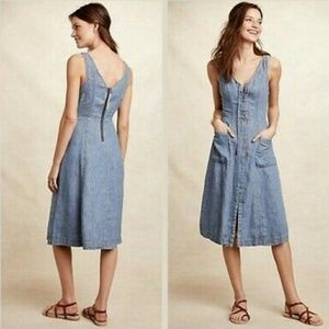 Anthro Holding Horses Atoll Denim Dress Sz 0